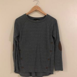 Sweet Wanderer Grey Top with Elbow Patches